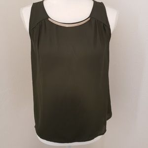 Lily White Metal Detailed Green Sleeveless Top